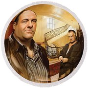 Round Beach Towel featuring the painting The Sopranos  Artwork 1 by Sheraz A