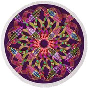 Blooming Mandala 1 Round Beach Towel