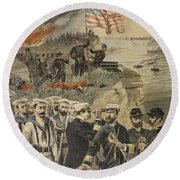 The Spanish American War Landing Round Beach Towel