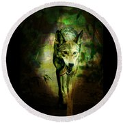 The Spirit Of The Wolf Round Beach Towel by Absinthe Art By Michelle LeAnn Scott