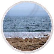 The Splash Over On A Sandy Beach Round Beach Towel by Eunice Miller