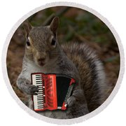 The Squirrel And His Accordion Round Beach Towel