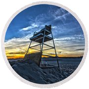 The Stand At Sunset Round Beach Towel