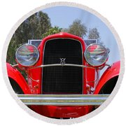Round Beach Towel featuring the photograph The Stare Of A V8 by Shoal Hollingsworth