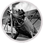 The Stearman Biplane Round Beach Towel