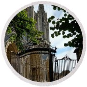 The Steeple And The Gate Round Beach Towel