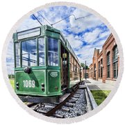 The Stib 1069 Streetcar At The National Capital Trolley Museum I Round Beach Towel