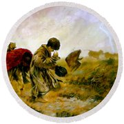 Round Beach Towel featuring the painting The Storm by Henryk Gorecki