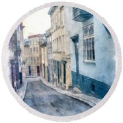 The Streets Of Old Quebec City Round Beach Towel