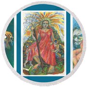 The Strength Tryptic Round Beach Towel