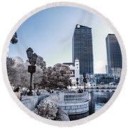 The Strip In Infrared Round Beach Towel