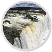 The Stunning Falls Of Iguacu Brazil Side Round Beach Towel