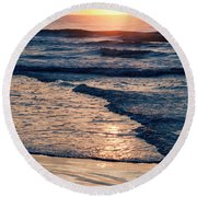 Sun Rising Over The Beach Round Beach Towel by Vizual Studio