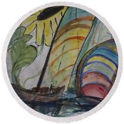 Round Beach Towel featuring the painting The Sunflower Journey by Avonelle Kelsey