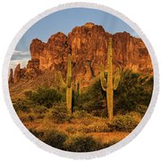 The Superstitions At Sunset  Round Beach Towel