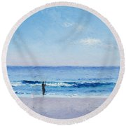 The Surf Fisherman Round Beach Towel