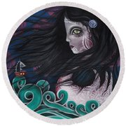 The Swan Round Beach Towel by Abril Andrade Griffith