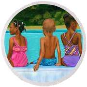 The Swim Lesson Round Beach Towel