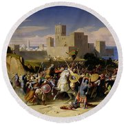 The Taking Of Beirut By The Crusaders Round Beach Towel by Alexandre Jean Baptiste Hesse