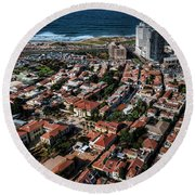 Round Beach Towel featuring the photograph the Tel Aviv charm by Ron Shoshani