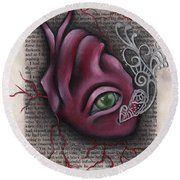 The Tell Tale Heart Round Beach Towel by Abril Andrade Griffith