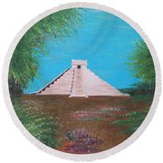 Round Beach Towel featuring the painting The Temple Of Kukulcan by Alys Caviness-Gober