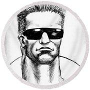 Arnold Schwarzenegger Round Beach Towel by Salman Ravish