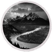 The Tetons The Snake River Round Beach Towel