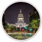 The Texas Capitol Building Round Beach Towel