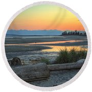 The Tide Is Low Round Beach Towel