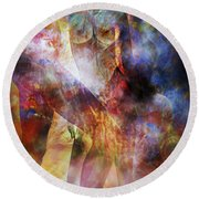 Round Beach Towel featuring the mixed media The Touch by Ally  White