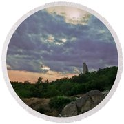 Round Beach Towel featuring the photograph The Tower by Eti Reid