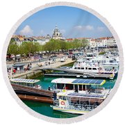The Town And Port Of La Rochelle Round Beach Towel
