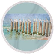 The Town Meeting Round Beach Towel by Mary Ellen Mueller Legault