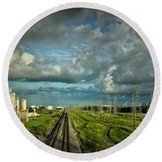 The Train Yard Round Beach Towel