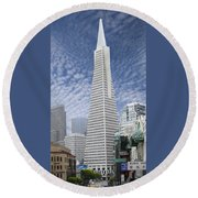 The Transamerica Pyramid - San Francisco Round Beach Towel by Mike McGlothlen