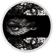The Tree Watcher Round Beach Towel by Nola Lee Kelsey