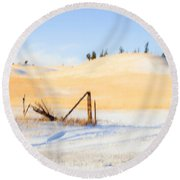 The Trees On The Hill Round Beach Towel