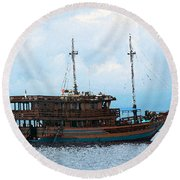 Round Beach Towel featuring the photograph The Trip To Bunaken by Sergey Lukashin
