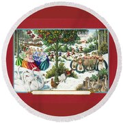 The Twelve Days Of Christmas Round Beach Towel