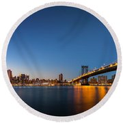 The Two Bridges Round Beach Towel