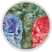 The Two Opposed Each Other Face To Face Round Beach Towel