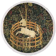 The Unicorn In Captivity Round Beach Towel