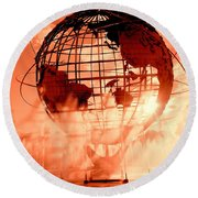 The Unisphere And Fountains Round Beach Towel by Ed Weidman