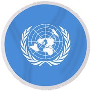 The United Nations Flag  Authentic Version Round Beach Towel