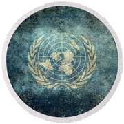 The United Nations Flag  Vintage Version Round Beach Towel