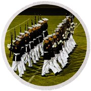 The United States Marine Corps Silent Drill Platoon Round Beach Towel by Robert Bales