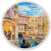 Round Beach Towel featuring the painting The Venetian Canal  by Vicki  Housel