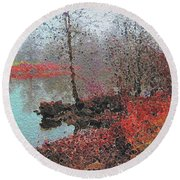 The View Across The Rideau On A Foggy Morning Round Beach Towel