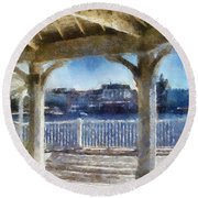 The View From The Boardwalk Gazebo Wdw 02 Photo Art Round Beach Towel by Thomas Woolworth